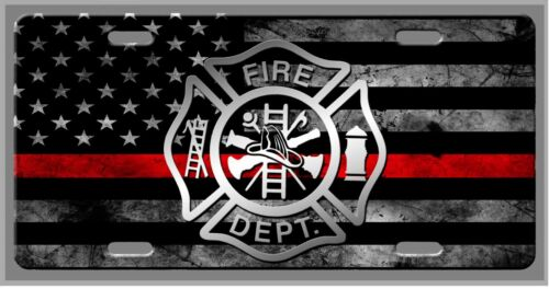 Punisher Thin Red Line Fireman Fire Fighter Car Vanity Tag  - License Plate