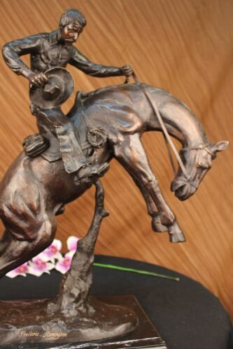 Handcrafted Old School Brown Patina Hand Made Bronco Buster Bronze Sculpture