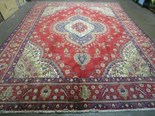 9' X 13' Vintage Authentic Hand Made Persian Tabriz Wool Rug Carpet Nice # 27