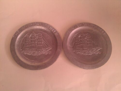 2 Vintage SANDCAST ALUMINUM THE AMERICAN CLIPPER PLATES SHIPS NAUTICAL