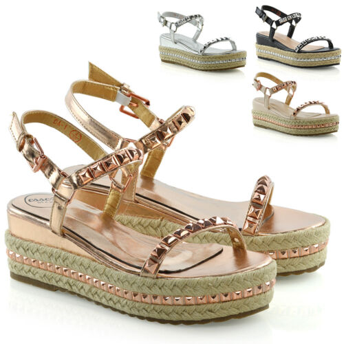 Womens Platform Sandals Studs Ankle Strap Wedges Espadrille Summer Shoes 3-8 <br/> 20% off with code PICK20OFF. Min spend £20. Max £75 off