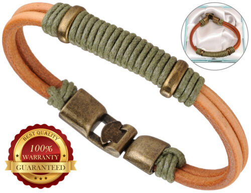 Surfer Faux Leather Bracelet Mens Surf Wristband Braided Rope Bronze Buckle
