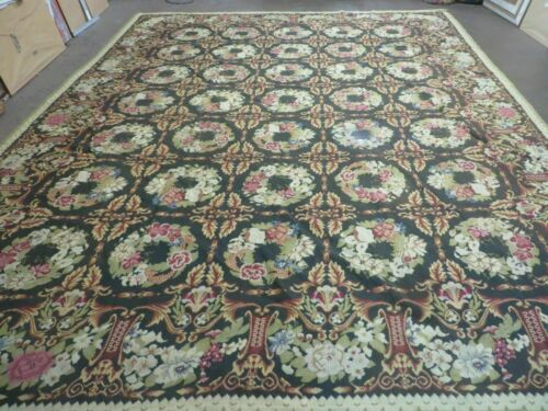 10' X 13' Hand Made English Pattern Needlepoint Wool Floral Rug Carpet