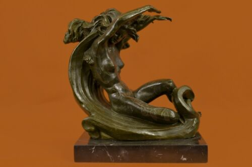 Handcrafted bronze sculpture SALE By Moon On Resting Female Nude Patina Special