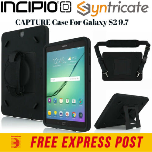 Incipio Capture Rugged Tough Case with Hand Strap for Galaxy Tab S2 9.7 - Black