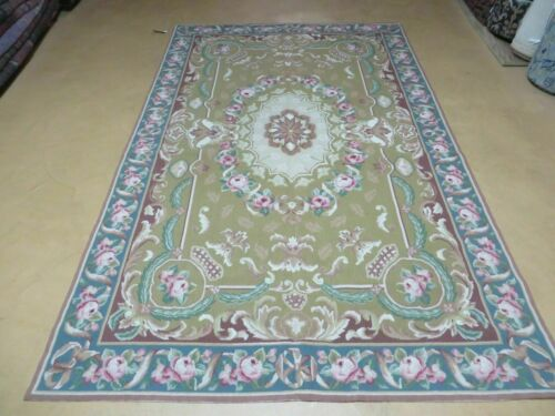 5' X 8' Hand Made French Aubusson Savonnerie Design Needlepoint Rug Nice