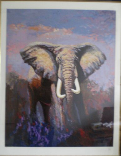 MARK KING Lone Tusker Elephant Martin Lawrence Gallery Signed FLORIDA Home