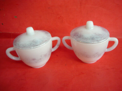 2 Vintage FEDERAL MILK GLASS SUGAR BOWLS SCRIBBLES SQUIGGLES MID CENTURY MODERN