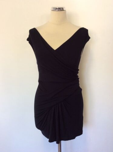 DONNA KARAN COLLECTION BLACK WRAP ACROSS SLEEVELESS STRETCH TOP SIZE S