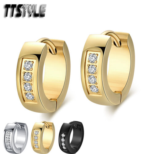 Quality TTStyle 4mm Width Stainless Steel Hoop Inlaid CZ Round Earrings NEW