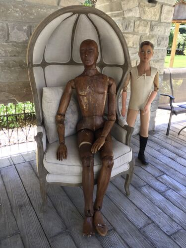 """LIFE SIZE WOODEN FRENCH STYLE ARTIST MANNEQUIN 5' 71/2"""" TALL AMAZING.. SALE"""