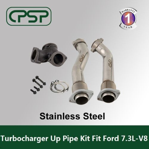 Ford 7.3L Power stroke 99-03 Bellowed Turbo Diesel  Exhaust Up Pipes & Gasket  <br/> Stainless Steel .Shipping from USA.  1 Year Warranty.