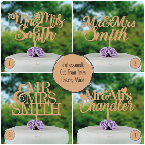 Wedding Cake Toppers PERSONALISED Wooden Rustic Custom Mr & Mrs Cake Decorations