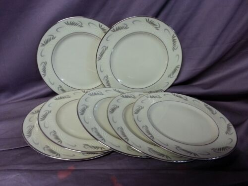 7 pc FLINTRIDGE CHINA CONTINENTAL BREAD AND BUTTER PLATES & FEATHERS