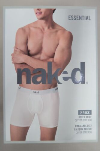 Naked Mens Essential 2 Pack Cotton Boxer Brief Underwear size Small Colour White