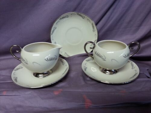 5 pc FLINTRIDGE CHINA CONTINENTAL COFFEE CREAMER SUGAR BOWL SAUCER FEATHERS