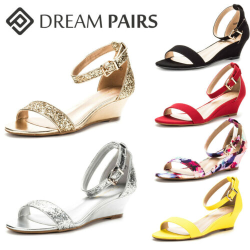 INGRID Women Summer Open Toe Ankle Strap Buckle Thong Design Low Wedge Sandals