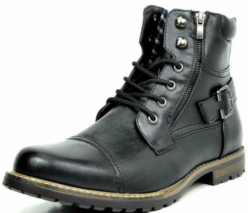 BRUNO MARC NEW YORK Men Philly-3/5 Military Motorcycle Combat Riding Ankle Boots