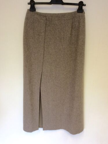 CERRUTI CLUB LIGHT BROWN WOOL BLEND LONG PENCIL SKIRT SIZE 12