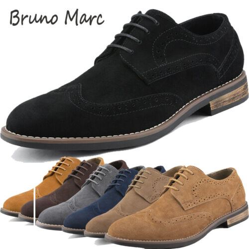 BRUNO MARC Fashion Mens Urban Suede Leather Lace up Flats Casual Oxfords Shoes