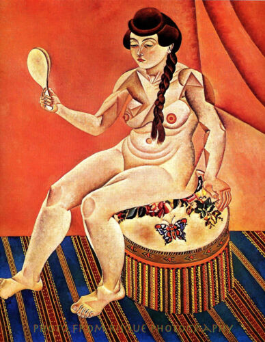 """Nude Woman With Mirror 8.5x11"""" Photo Print Joan Miró Odalisque Fine Art Painting"""