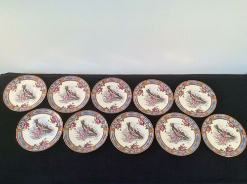 GARFIELD AESTHETIC  POTTERY SET 10 FISH PLATES ROSES SEA LIFE Rd No 8844 ANTIQUE