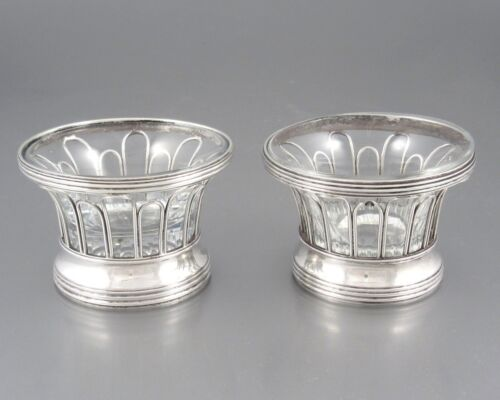 Antique French Sterling Silver Salt Cellars, First Empire Napoleon – Restoration