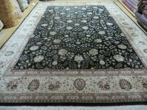 9' X 12' Vintage Hand Made Persian Tabriz Wool & Silk Accents Rug Nice Black