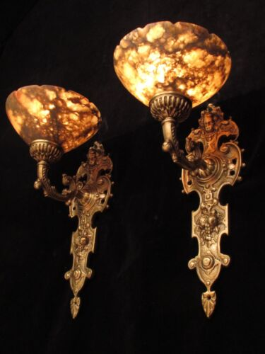 wall light sconces angel faces  solid cast bronze custom made by European