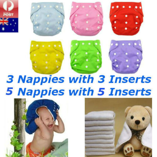 Reusable Baby Modern Cloth Nappies Diapers Adjustable Washable + inserts