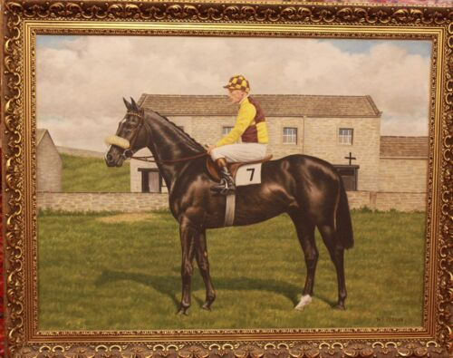 """Original Realistic Oil Painting by WF Perrin, """"Racehorse With Jockey"""""""