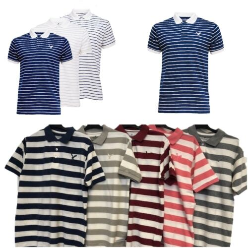 Men's American Eagle Short Sleeve Polo Shirt Striped Size Small - XXL RRP £22.00