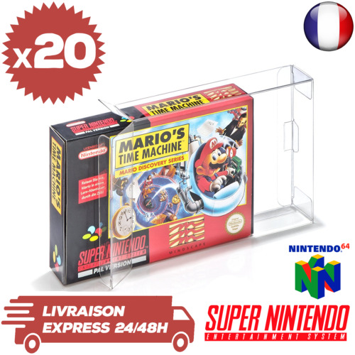 20 Boitiers Protection Crystal Box Jeux Super Nintendo Nintendo 64 SNES 0,3 mm