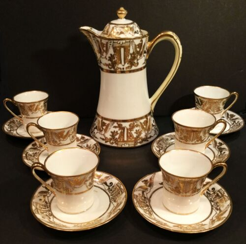 Antique chocolate set. Nippon Noritake. Art Nouveau. 13 piece set.