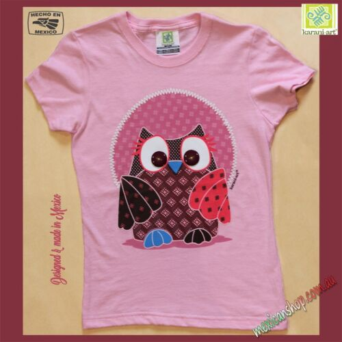 Mexican T-shirt for Girls, Pink, Owl with button eyes, Cotton 100%, Serigraph