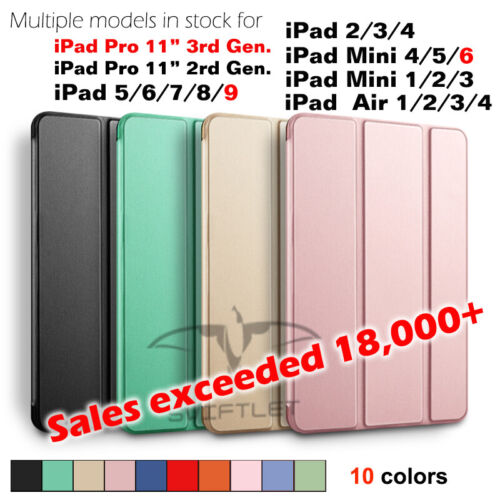 Lightweight Shockproof Smart Cover Case for iPad 8 7 6 5 4 3 2 1 and Mini Series