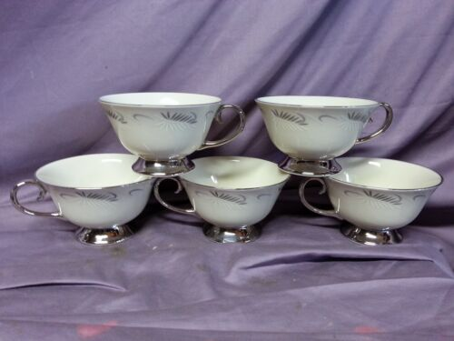 5 pc FLINTRIDGE CHINA CONTINENTAL COFFEE CUPS TEA FEATHERS