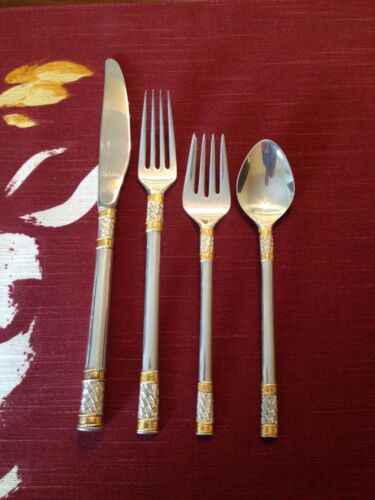 CLEAN 4 PC WALLACE AEGEAN WEAVE GOLD GOLDEN AGEAN STERLING SILVER FLATWARE SET