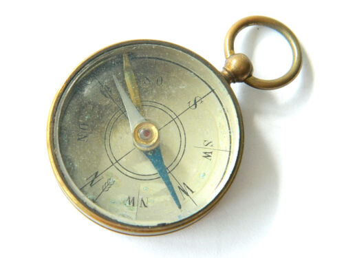 Antique Maritime Brass Magnetic Compass Pendant, Pocket-sized, Spain