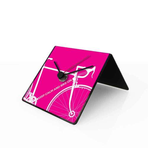 dESIGNoBJECT Table clock perpetual calendar Bike pink 10x10x10 cm Made in Italy