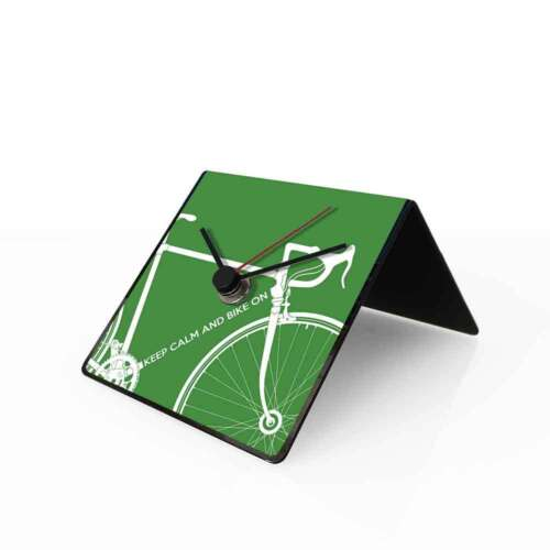 dESIGNoBJECT Table clock perpetual calendar Bike green 10x10x10 cm Made in Italy