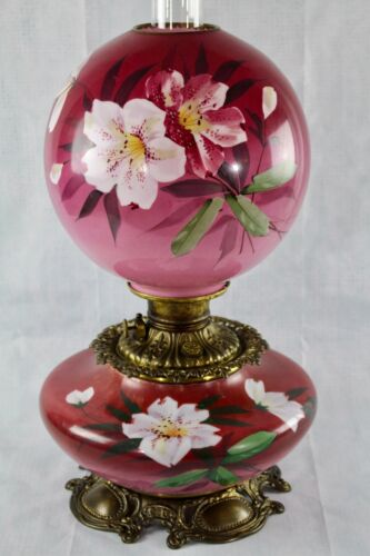 Antique Victorian Hand Painted Lilly Cranberry GWTW Oil/Kerosene Parlor Lamp