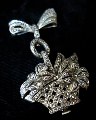 Vintage 1960's Marcasite/Sterling Silver Lapel Watch