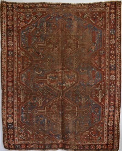 ANTIQUE QASHQAI ORIENTAL RUG - SQUARE ISH 5x6 - WELL WORN DISTRESSED RUG heriz-m
