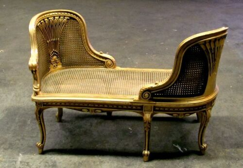 French Gilt Louis XV Cane Conversational Settee Canapé