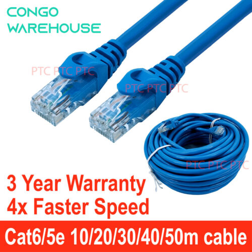 Cat6 Cat 5e Ethernet Network Patch cable Lead 10m 15m 20m 30m 40m 50m 1000mbps