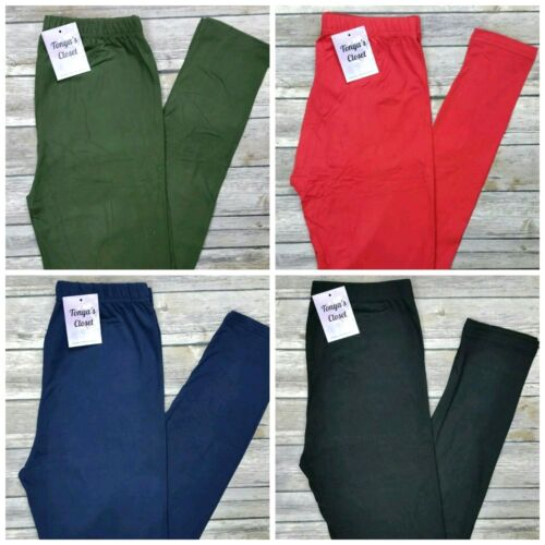 EXTRA PLUS Buttery Soft Solid Leggings Black Navy Red Olive 10 Colors  16-24 TC2