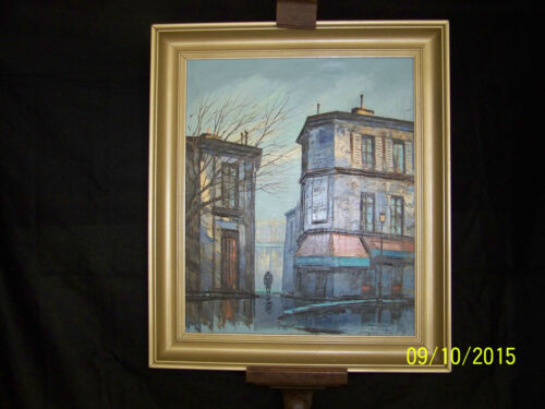 Andre' Grass Listed Artist Paris Street Scene Mid Century Original Oil/Canvas
