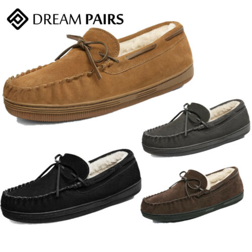 DREAM PAIRS Mens Fur-Loafer-01 Suede Slippers Casual Warm Comfort Loafers Shoes