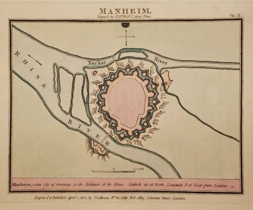 Antique Map MANHEIM Mannheim Germany Hand Colored Luffman Select Plans 1802